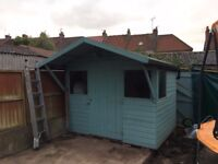 Garden Shed / Summerhouse - 8ft Wide, Overhang Roof, Four Windows
