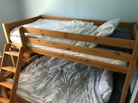 Bunk bed - triple, has a 4 X 6 foot lower and 3 X 6 foot upper.