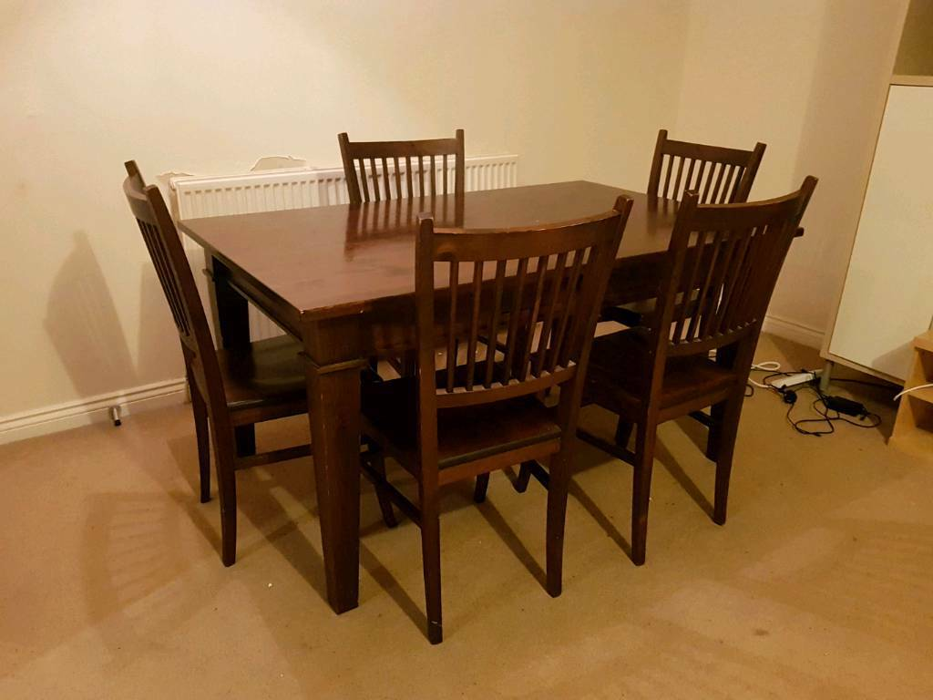 Solid Wood Family Dining Room Table And 6 Chairs