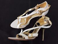 Ladies High Heels - Gallery white and gold size 4