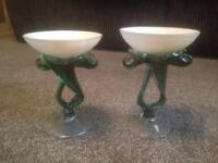 Emerald green pair of vintage cocktail glasses