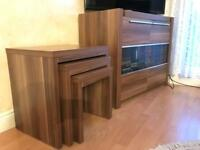 TV CUPBOARD STAND + NEST OF 3 COFFEE TABLE SET