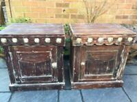 2 x Indian Hardwood - Distressed Style Bedside Chests .
