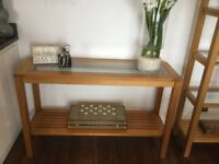 Solid Oak 4 Item Furniture Set - M&S and Next Console table/Display unit/TV Unit/Coffee table