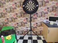 unicorn 2hd dart board with surround, adjustable stand and spare numbers