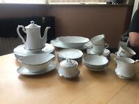White and Silver China Dining Set