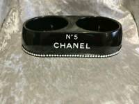 Black Chanel Raised Twin Dog Cat Bowls