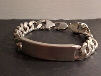 Gents 925 hallmarked Sterling Silver ID bracelet on a heavy curb chain - 67.8g