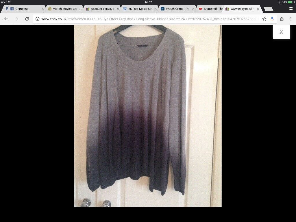 * GORGEOUS DIP DYED GREY/BLK COSY JUMPER SIZE 22 *