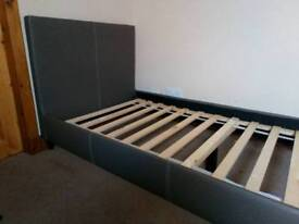 Leather effect single bed