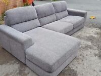 Fabulous 1 month old grey fabric corner sofa. used for few days.clean and tidy. can deliver