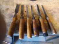 wood chisels X 6 (wood handled)