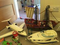 Playmobil pirate ship, plane and boat