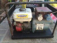 Petrol Generator 110v and 240v, Honda engine, 2 x 110v socket, 1 x 240v socket.