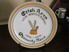 Denby Pottery Crich Area Community News Anniversary Plate