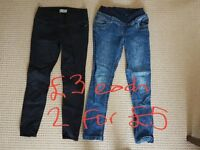 Size 10 maternity jeans. Black jeggings (New Look) and blue jeans (H&M)
