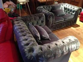 Velvet Chesterfield suite