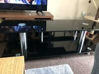 Black glass/chrome tv unit