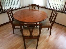 Ducal pine table and 4 chairs - ideal for up cycling.