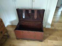 Antique style dark red wooden chest