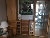 Beech wood wall unit or splits into three separate pieces.