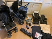 UppaBaby Vista Travel system with double pram seats, accessories and FREE travel buggy