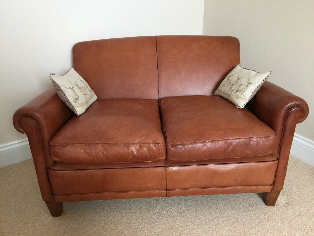 Laura Ashley Burlington Distressed Leather Small 2 Seater Sofa Tan Brown Rrp 1700