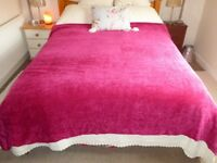Pink Chenille Bed Throw 200mm x 200mm New with Tags - luxurious feel and look - very soft and pretty