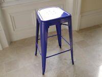 TOLIX Royal Blue Finish Industrial Design Bar Stool ~ Height 77cm