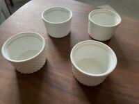 Souffle or Tapas bowls, Large Ramekin x 4. White. Dot pattern