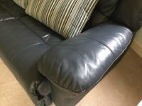 Dark Blue Two Seater Leather Settee