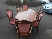 Highly polished inlayed, etched dining room table with 6 button back velvet chairs (2 carvers) £199!