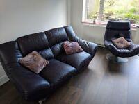 Leather Sofa and Swivel Chair - Aubergine Purple