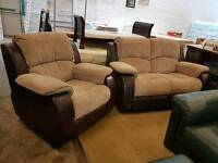 Modern fabric and leather 2 seater recliner with reclining chair