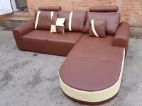 Stunning BRAND NEW brown and cream leather corner sofa.in the box. can deliver