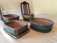 Bonsai glazed ceramic pots with trays