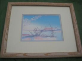 By the Shore - Peaceful Sea View: - Painting in Glazed Wooden Frame for £15.00