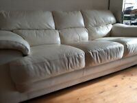 Harveys cream 3 seater Italian leather sofa