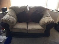 Large 2 seater/small 3 seater sofa in two-tone brown, faux leather base & brushed fabric cushions