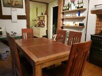 DFS extending dining room table and chairs, perfect condition.