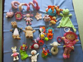 Lovely Bundle of Baby Toys: Lamaze doll, spiral pram toy etc. etc.