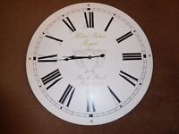 Large White Wood Circular Roman Numerals 60cm 2ft Battery Operated Wall Clock