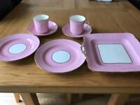 Radfords crown China England set. 2 cups, 2 saucers, 2 plates, serving dish