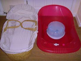 Moses Basket - Pink Baby Bath & Avent Steriliser