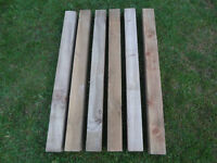 Wooden picket posts x 6 posts measuring 89 cm x 77mm square.