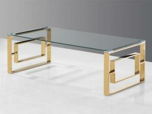 Modern Glass Golden Coffee Table (KA220)