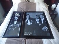 """2 Framed black and white prints """"The Rat Pack"""" and """"The Godfather"""" will seperate ."""