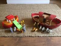 Noah's ark playset with 16 animals 2 boats