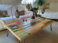 Retro reclaimed coloured wooden coffee table in Farmhouse, industrial style with hairpin legs