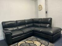 Black leather corner sofa delivery 🚚 sofa suite couch furniture